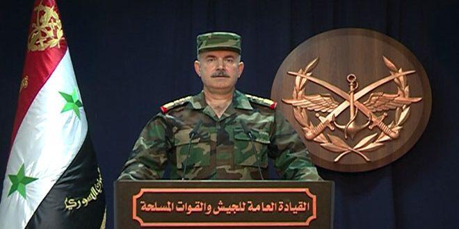 القيادة العامة للجيش : عدوان أمريكي بريطاني فرنسي بـ 110 صواريخ على أهداف سورية .. ودفاعاتنا الجوية تسقط معظمها