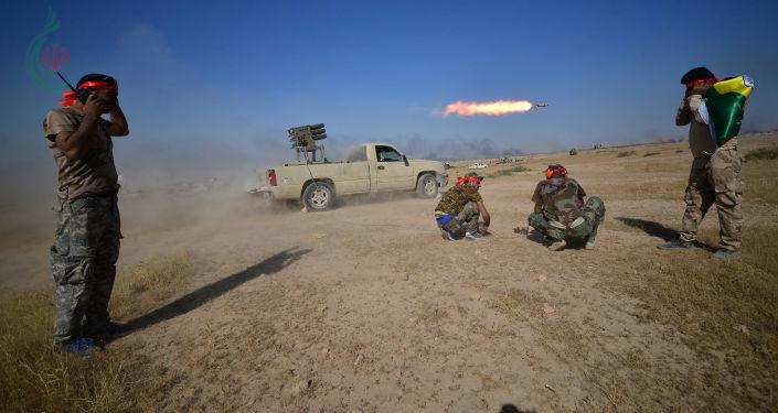 مدفعية الحشد تستهدف تجمعات لداعش في منطقة الباغور السورية