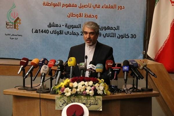 كلمة رجل الدبلوماسية الإيرانية في سورية سعادة السفير جواد تركآبادي في الملتقى العلمائي الإسلامي