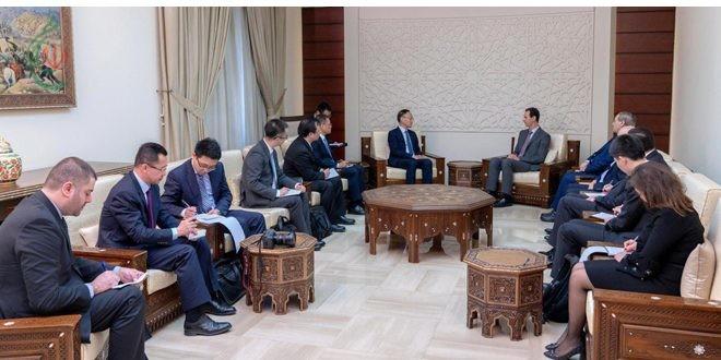 الرئيس الأسد لمساعد وزير الخارجية الصيني : الحرب على الإرهاب في سورية جزء من حرب واسعة على الساحة الدولية