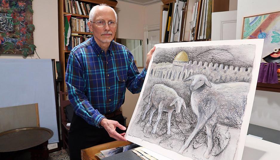 الرسام الأميركي توماس كوكس يكرِّس فرشاته لتصوير معاناة فلسطين وسكان قطاع غزة المحاصر