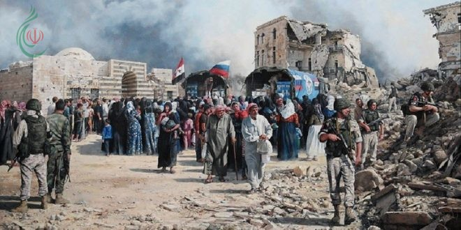 فنان إسباني يبدع لوحة عن الجنود الروس في سورية