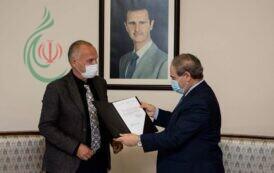الدكتور فيصل المقداد يتسلم أوراق اعتماد ممثل منظمة الأمم المتحدة للطفولة اليونسيف الجديد في سورية بو فيكتور نيلوند