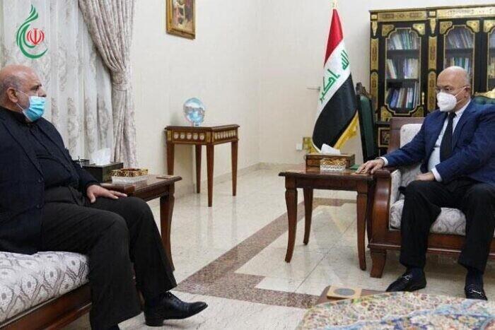 السفير الإيراني في بغداد يبحث مع الرئيس العراقي برهم صالح سبل تطوير العلاقات الثنائية بين البلدين وتعزيز الأمن والسلام الإقليمي