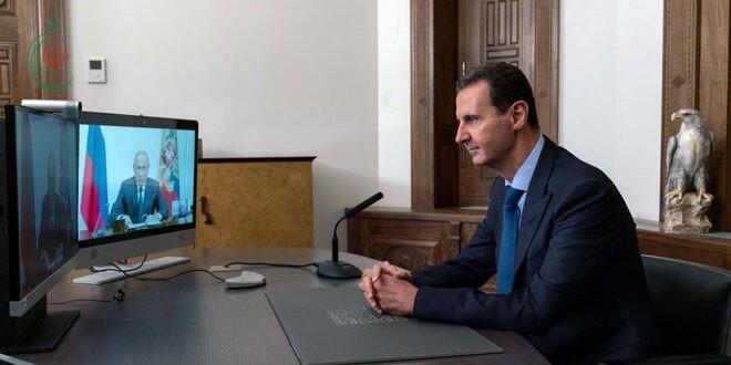 الرئيس الأسد خلال اتصال مع الرئيس بوتين عبر تقنية الفيديو كونفرانس : المؤتمر الدولي لعودة اللاجئين بداية لحل هذه المسألة الإنسانية والعدد الأكبر من اللاجئين يرغب بالعودة إلى سورية