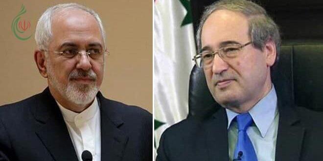 المقداد يبحث مع ظريف تعزيز العلاقات الثنائية وسبل الارتقاء بها وتعزيزها في كل المجالات وتطورات الأوضاع في سورية وإيران والمنطقة والعالم