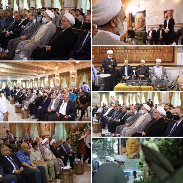 ممثل الإمام الخامنئي (دام ظله) في سورية يشارك مراسم عزاء الأمين العام للجبهة الشعبية لتحرير فلسطين - القيادة العامة أحمد جبريل